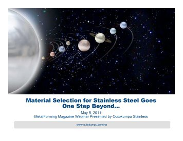 Material Selection for Stainless Steel - Metalforming Magazine