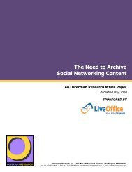 The Need to Archive Social Networking Content - Osterman Research