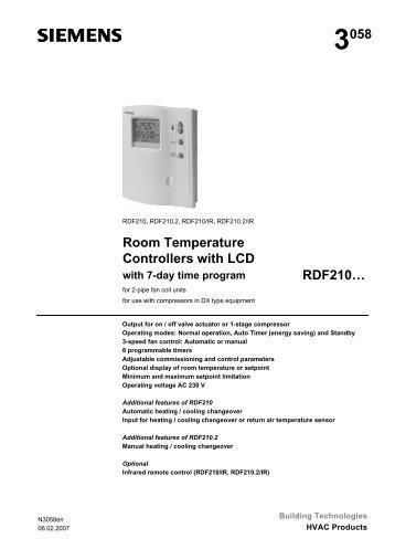 Room Temperature Controller Siemens Rdf3102 Connection Diagram