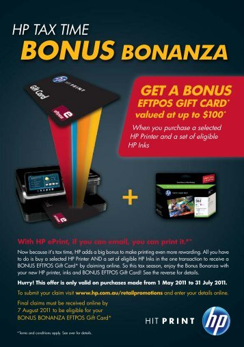 GET A BONUS EFTPOS GIFT CARD* valued at up to $100