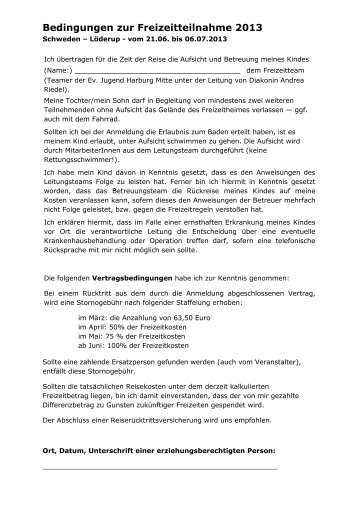 Anmeldung für Schweden 2013 - St. Petrus – Hamburg-Heimfeld