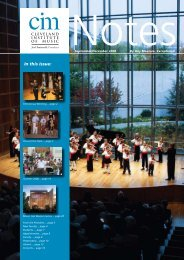 In this Issue: - Cleveland Institute of Music