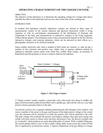 Operating Characteristics of the Geiger Counter - Ryerson ...