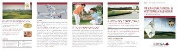 VERANSTALTUNGS- & WETTSPIELKALENDER - bei A-ROSA Golf