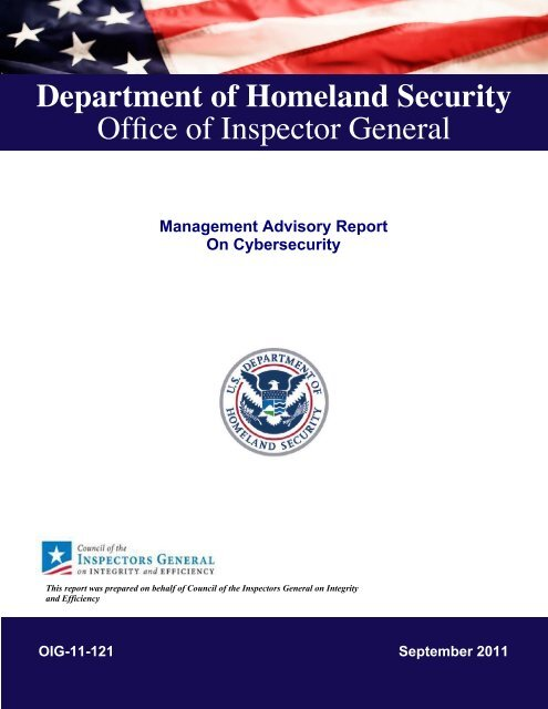 Management Advisory Report on Cybersecurity - Council of the ...