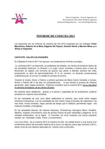 INFORME DE COSECHA 2012 - Wines Of Argentina