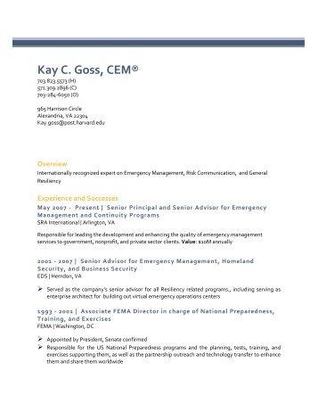Kay C. Goss, CEM® - Bush School of Government and Public Service