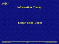 Information Theory Linear Block Codes - Public.fh-wolfenbuettel.de