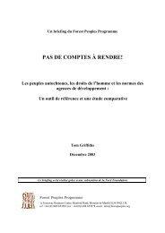 PAS DE COMPTES À RENDRE! - Forest Peoples Programme