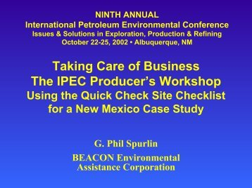 """Taking Care of Business"" - The IPEC Producer's Workshop"