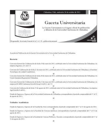Gaceta 63 - Transparencia - Universidad Autónoma de Chihuahua