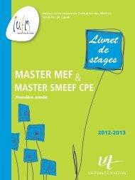 Livret de stages Master MEF et SMEEF spécialité