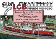 Weihnachtsfahrtage 2012 - LGB Club Rhein / Sieg