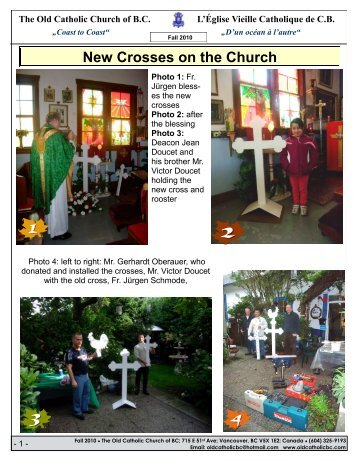 New Crosses on the Church - The Old Catholic Church of BC