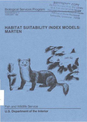 habitat suitability index models: marten - USGS National Wetlands ...