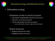 Information Ecology and Information Society - Information Habitat