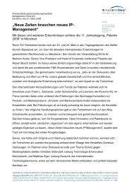 """""""Neue Zeiten brauchen neues IP- Management"""""""