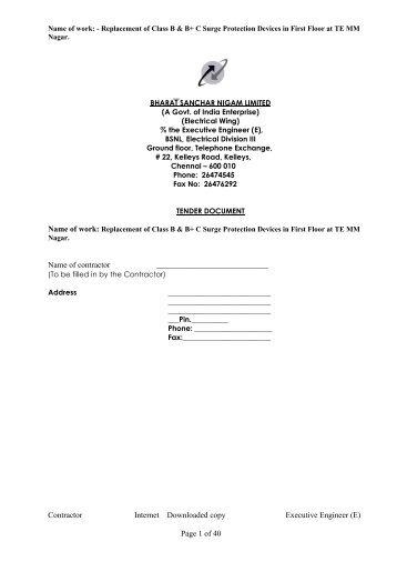 Bharat Sanchar Nigam Limited - Chennai Telephones - BSNL