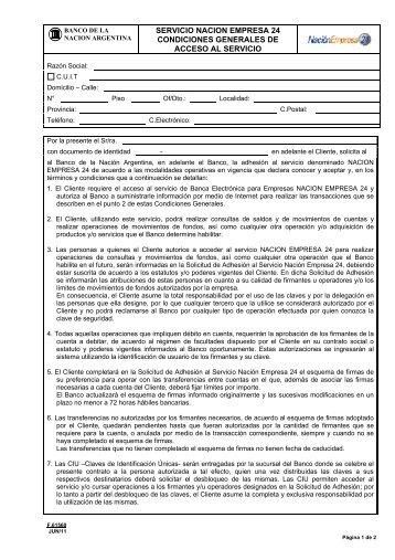 Condiciones Generales de Acceso al Servicio - Banco De La ...