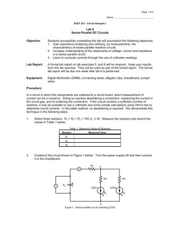 series parallel circuit elements lab report Ac circuits phasors, impedance and transformers for circuit elements through series and parallel combinations.