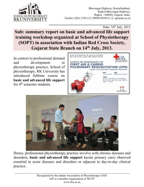 summary report on basic and advanced life support     - RK University
