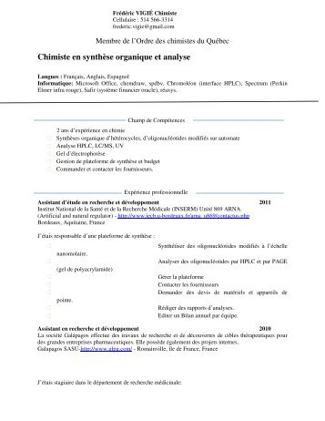Chimiste en synthèse organique et analyse - Ordre des chimistes du ...
