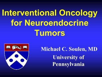 Interventional Oncology For Neuroendocrine Tumors