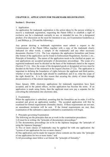 CHAPTER 11. APPLICATION FOR TRADEMARK REGISTRATION ...