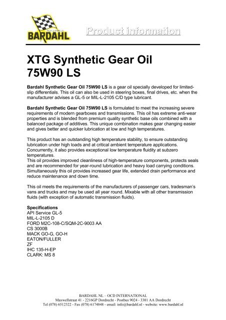 Product information XTG Synthetic Gear Oil 75W90 LS - Bardahl