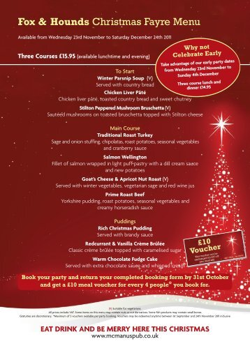 Fox & Hounds Christmas Fayre Menu - Mcmanus Pub Company