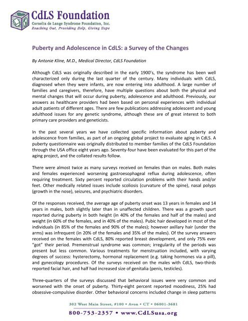 Puberty and Adolescence in CdLS: a Survey of the Changes