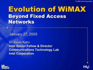 Evolution of WiMAX Evolution of WiMAX - MIT - Communications ...