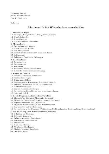 Mathematik für Wirtschaftswissenschaftler - Lehrstuhl Numerische ...