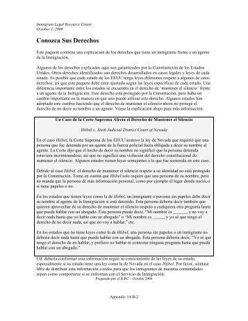 Conozca Sus Derechos - ILRC