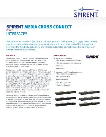Spirent Media Cross Connect Interfaces Datasheet