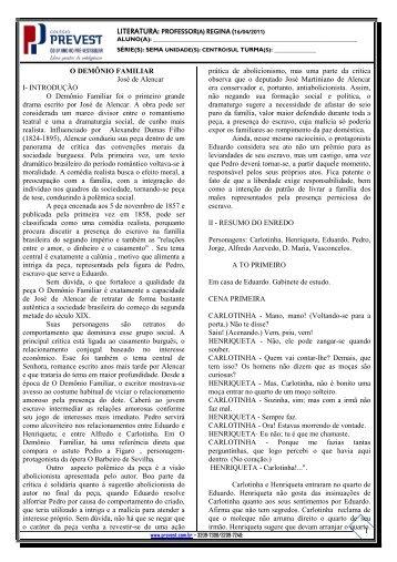 1 literatura: professor(a) regina (16/04/2011) - Colégio PREVEST