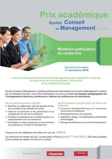 Plaquette Prix Acadã Consulting News Line
