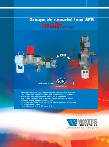 Groupe de sécurité inox SFR - Watts Industries