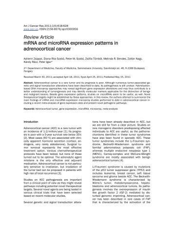 Review Article mRNA and microRNA expression patterns in ...