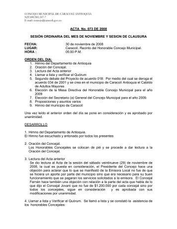 ACTA No. 073 DE 2008 SESIÓN ORDINARIA DEL MES ... - Caracolí