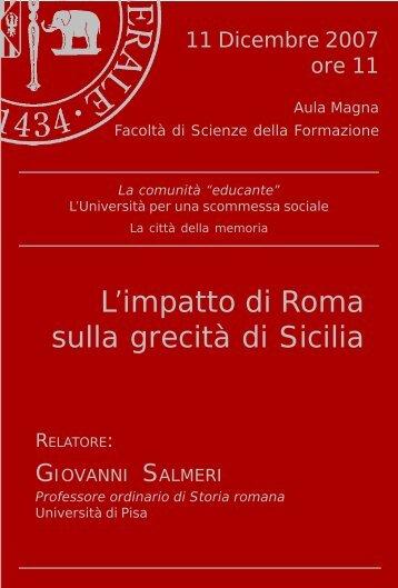 scarica la cartolina in formato pdf - Facoltà di Scienze della ...