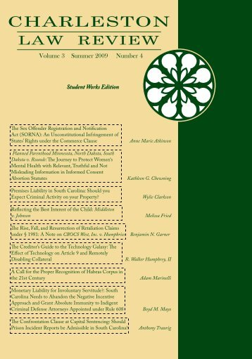 Volume III Issue IV - Charleston Law Review