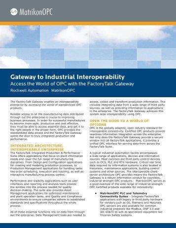 Gateway to Industrial Interoperability - Automation.com