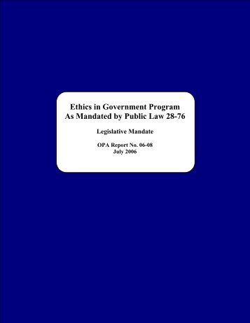 Ethics in Government Program - The Office of Public Accountability