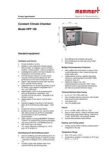 Constant Climate Chamber Model HPP 108