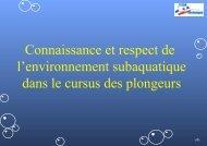 Connaissance et respect de l'environnement subaquatique dans le ...