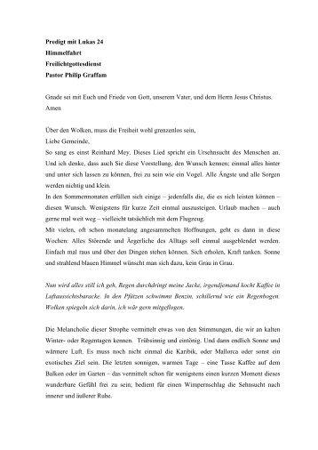 Predigt mit Lukas 24 Himmelfahrt 2011 - ev. Kirche in Lauenburg