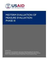 MIDTERM EVALUATION OF MEASURE EVALUATION PHASE III