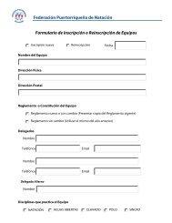 Formulario de inscripcion – Equipos - Federación Puertorriqueña de ...