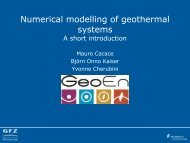 Numerical modelling of geothermal systems A short ... - Geo.X